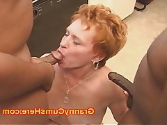 Cum in mouth, Granny, Interracial, Mature