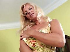 Blonde, Dildo, Masturbation, MILF