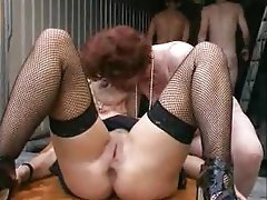 Gangbang, Granny, Mature, Boobs